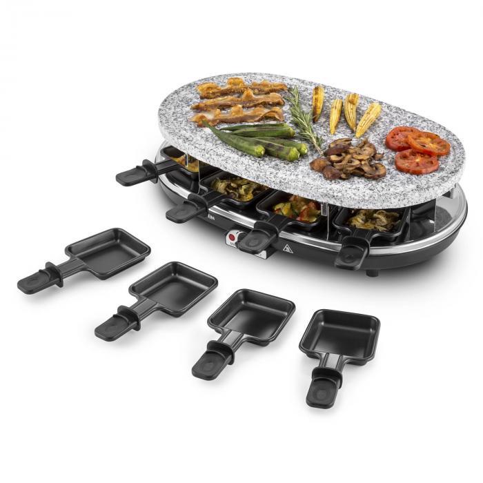 Steaklette raclettegrilli 1500 W graniittine luonnonkivilevy 8 henkilöä