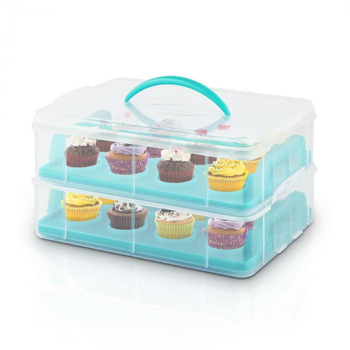 USS Blue Cookie Cake Transporter Containers 2 Tiers 2 Inserts Handles