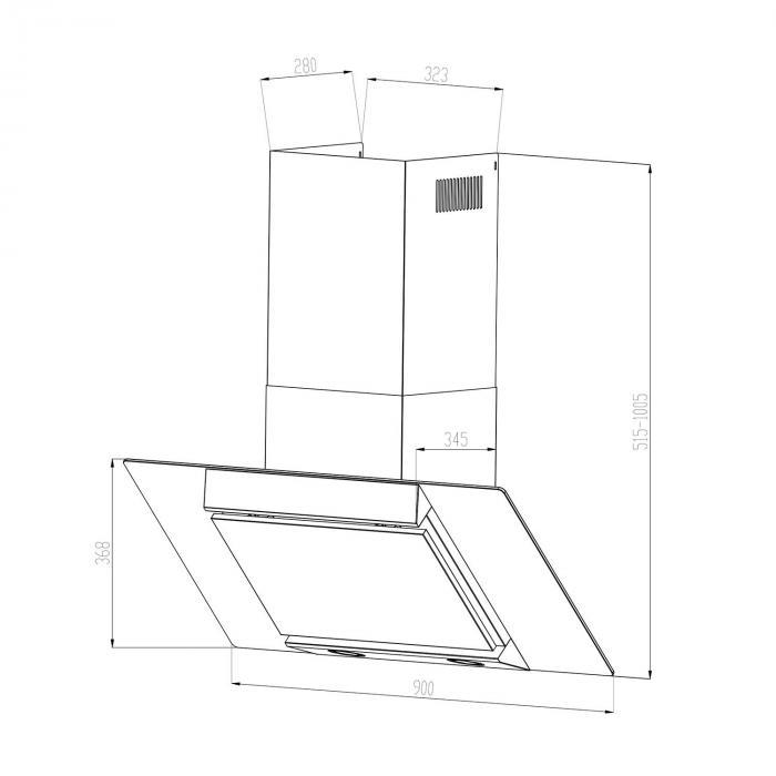 Zola liesituuletin ruostumatonta terästä 90 cm seinäasennettava 635 m³/h lasi