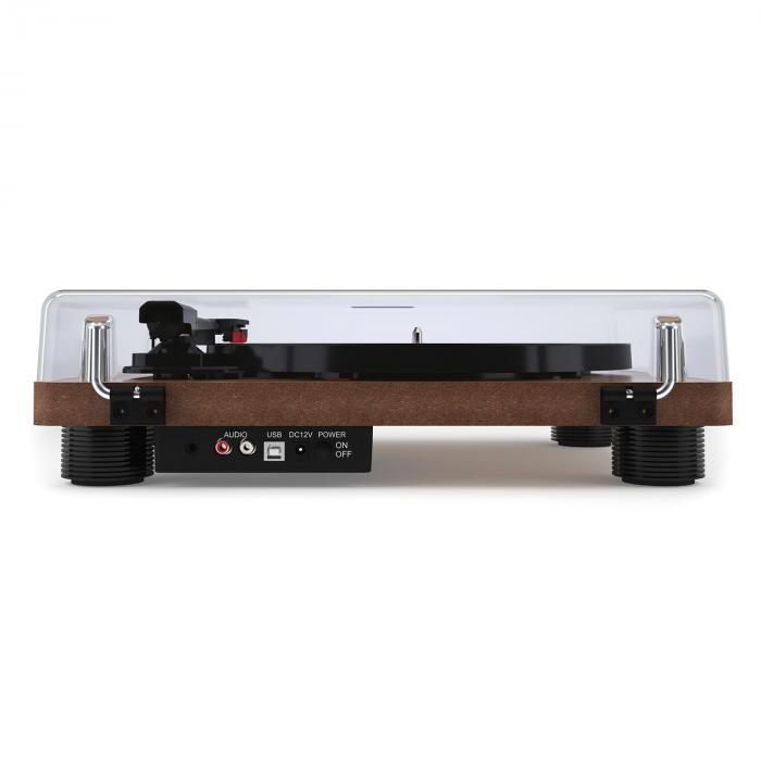 TT Classic WD retroskivspelare USB Line-Out högtalare träfaner