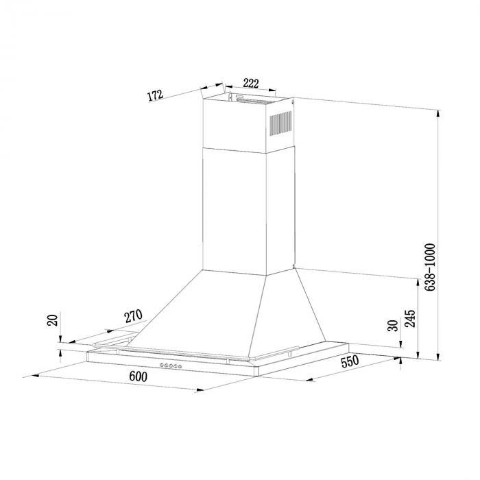 Timea liesituuletin ruostumatonta terästä 60 cm 416 m³/h seinään kiinnitettävä