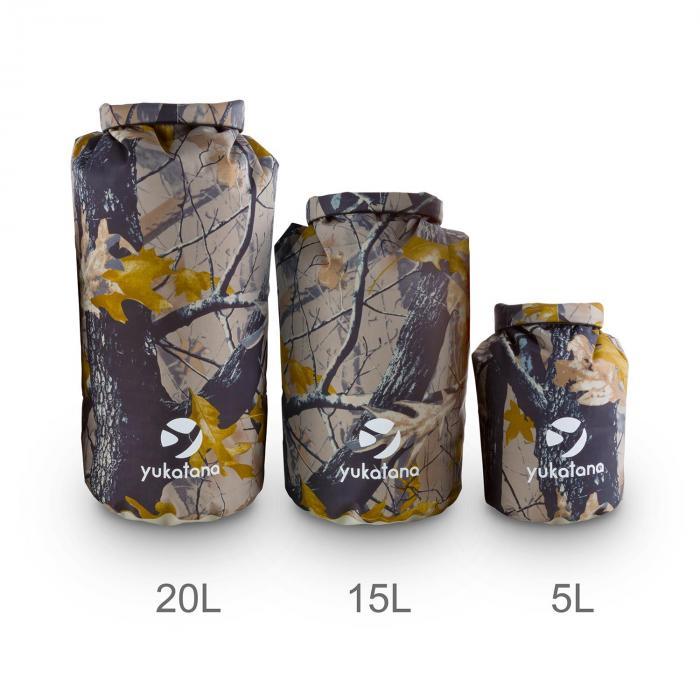 Treckset Camo Set de 3 petates/bolsas estancas de camuflaje 5/15/20 l