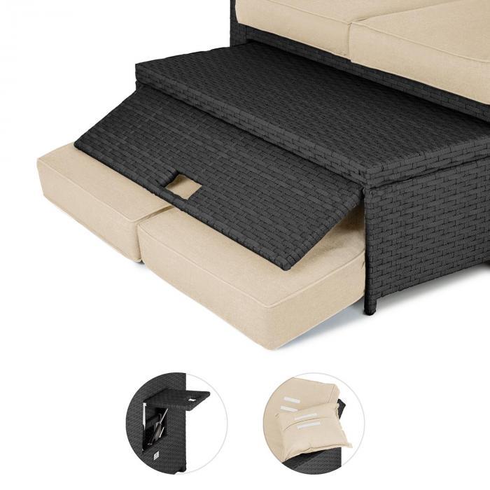 Komfortzon Rotting-Lounge-Soffa 2-sits polyrotting uppfällbara sidobord grå