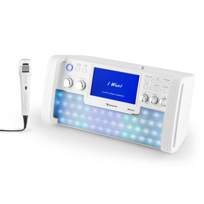 """DiscoFever LED Bluetooth-Karaokeanlage LED 7"""" TFT-Screen CD USB weiss"""