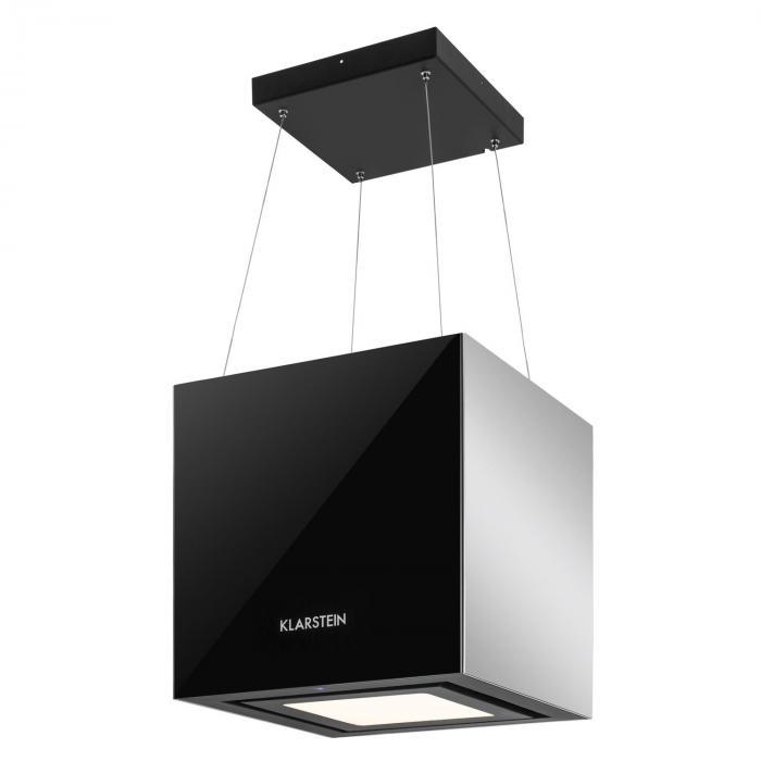 Kronleuchter Dunstabzugshaube Deckenhaube LED Glas verspiegelt schwarz