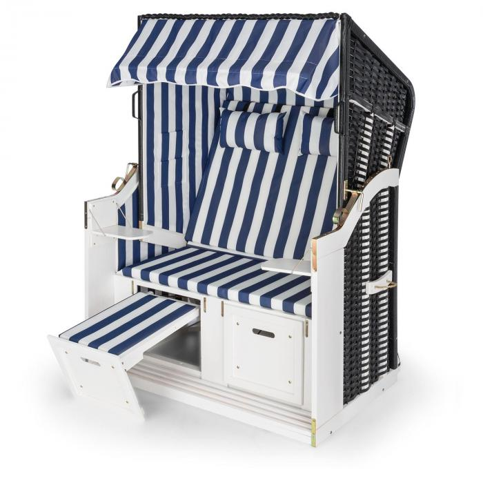 Hiddensee Wicker Beach Chair XL 2-seater sunbed blue / white striped
