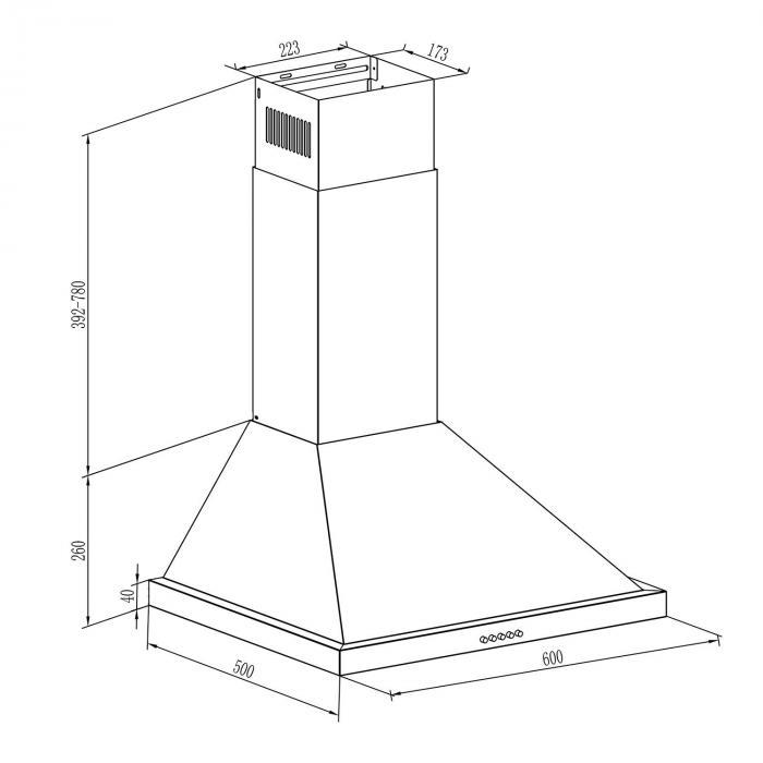 Steinklar campana extractor 60 cm 610 m3/h potencia de extracción