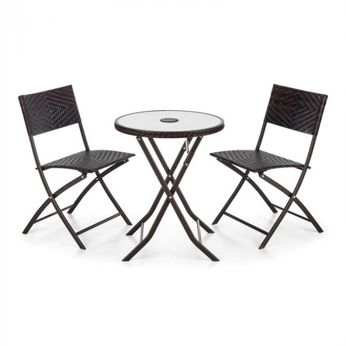 Before Sunrise 3 LED rottinki Bistro-setti pöytä 2 tuolia ruskea