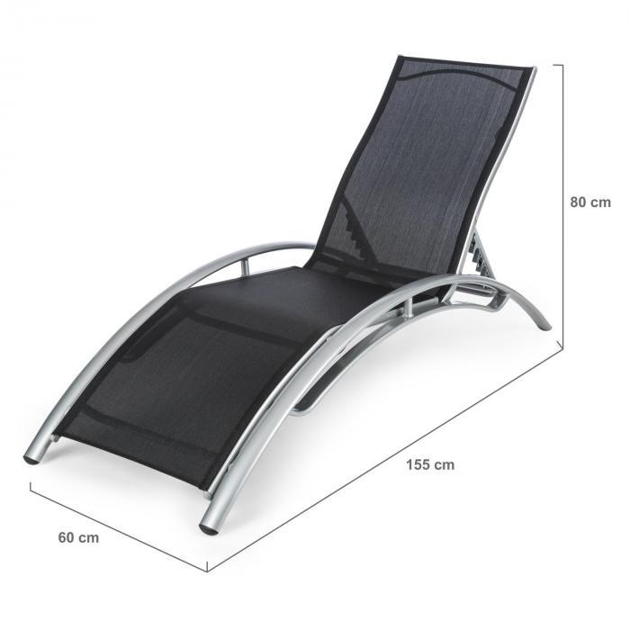 Intermezzo aurinkotuoli alumiinia 5cm:n PU-pehmusteella musta/beige