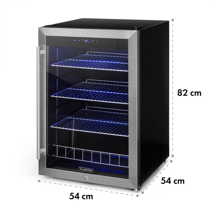 Falcon Crest juomajääkaappi lasiovi 4-18 °C 128 l lukko 42 dB ruostumatonta terästä