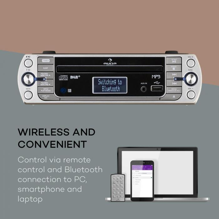 KR-400 CD Kitchen Radio, DAB + / PLL FM, CD / MP3 Player Silver
