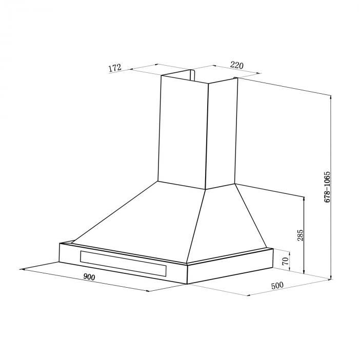 Zelda 90cm Dunstabzugshaube Umluftset 620 m³/h Aktivkohlefilter