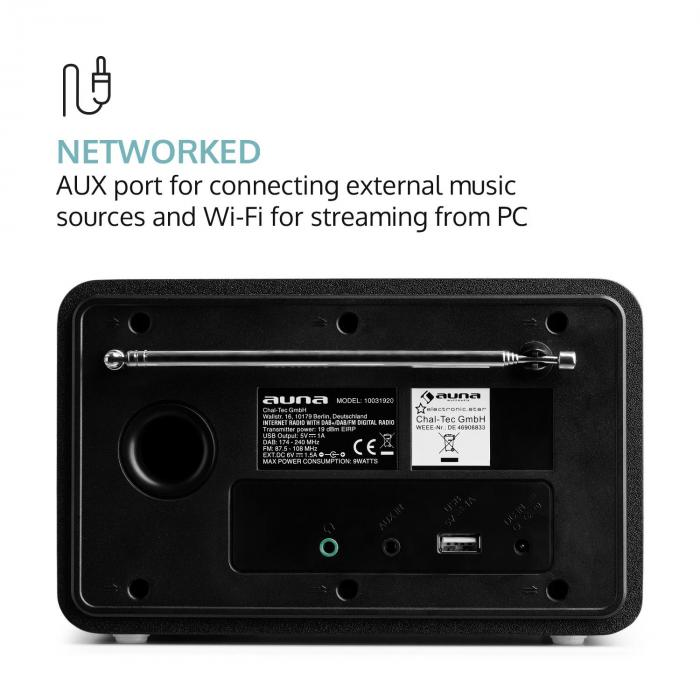 Worldwide Mini internetradio WLAN verkkosoitin USB MP3 AUX FM-radio