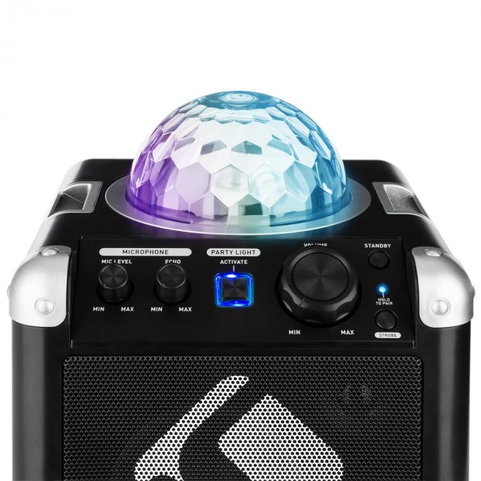 BC-10 Impianto Karaoke Luci da Party LED Bluetooth Batteria USB AUX-In nero