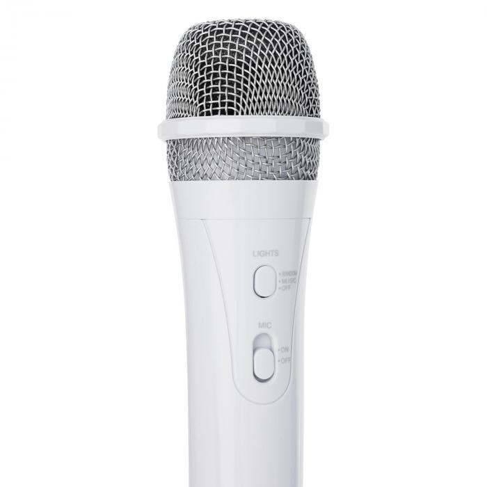 SingSing valkoinen + Dazzl mikrofonisetti karaokelaitteisto mikrofoni LED-valaistus