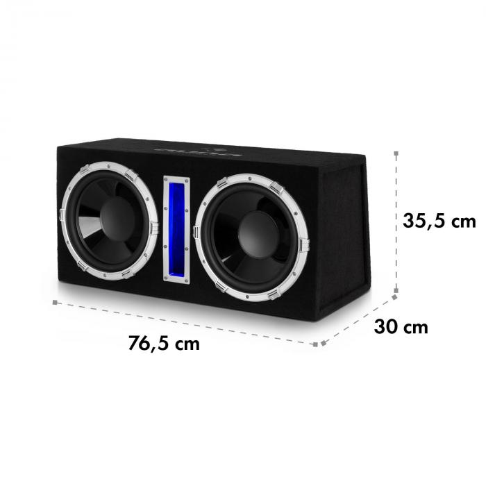 "Basswaver X 10L Active Car Subwoofer 2 x 25cm (10"") 2100W LED"