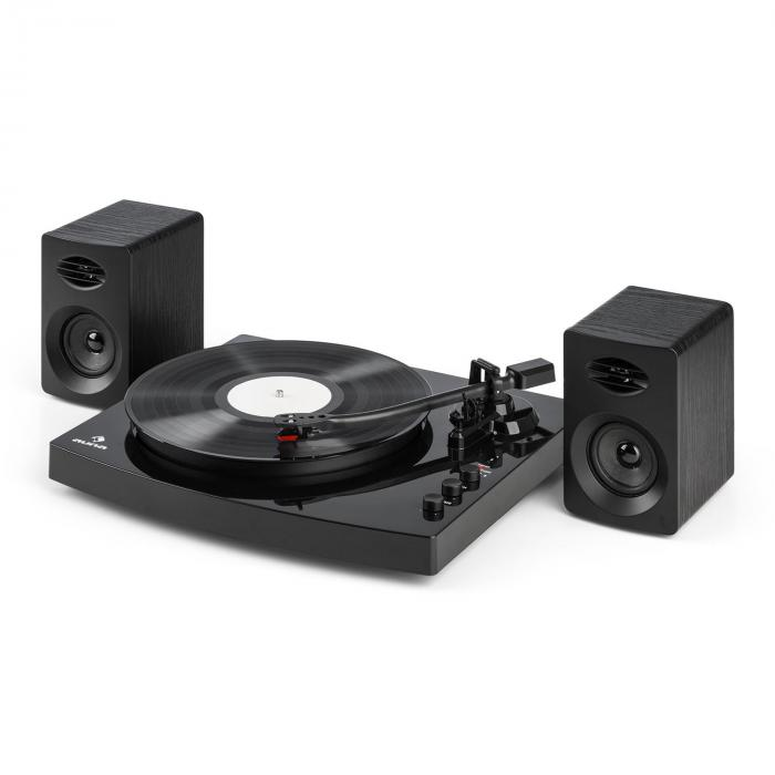 """TT-Play Giradischi 2 Casse Stereo (3""""/10W) BT 33 1/3 & 45 giri/min Nero"""