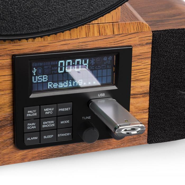 Verticalo DAB Giradischi Retrò DAB + Tuner VHF USB BT AUX Sveglia