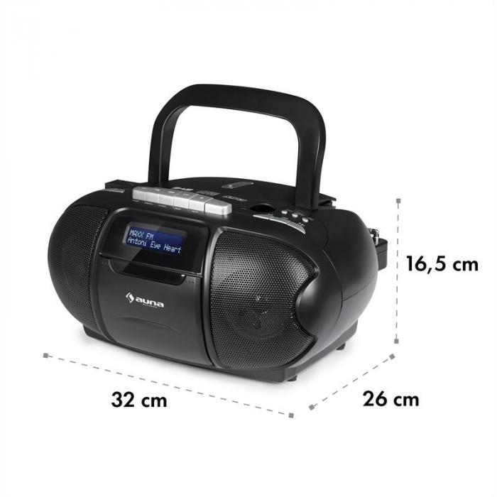 BeeBoy DAB Boombox Cassette Player USB CD MP3 Black