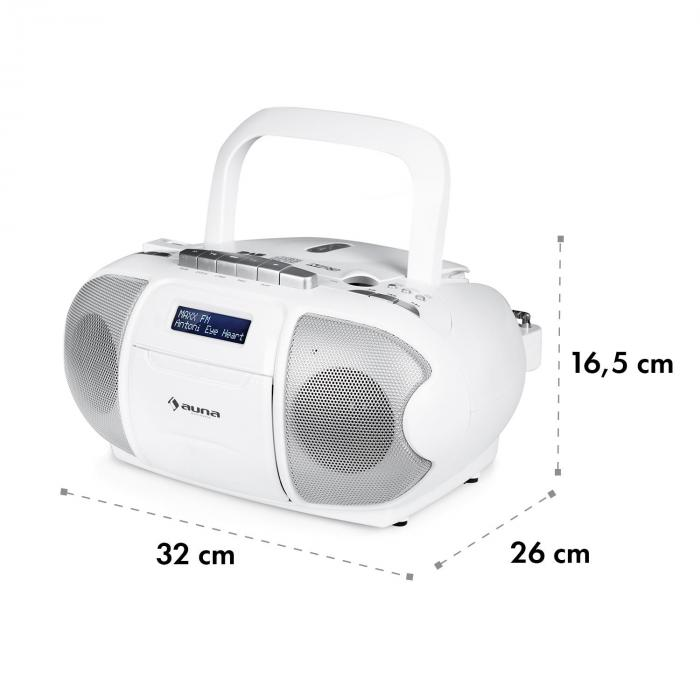 BeeBerry DAB Boombox Stereo Portatile Musicassette USB CD MP3 Bianco