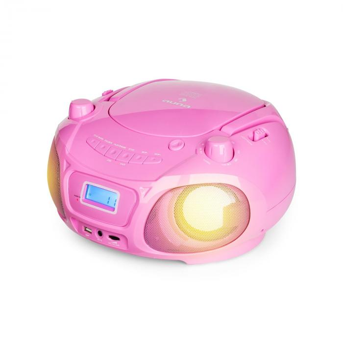 Roadie Sing CD Boombox UKW-radio valoshow CD-soitin mikrofoni vaaleanpunainen