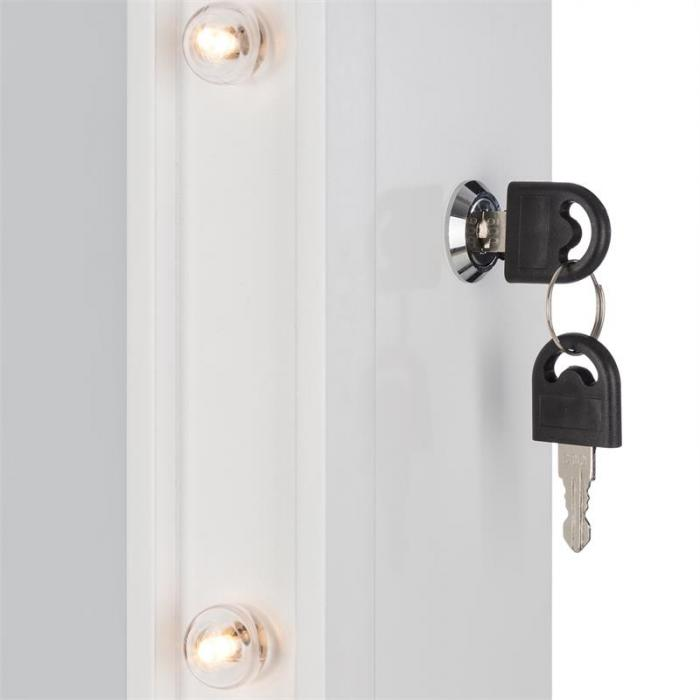Smilla korukaappi korupeili 24x LED käännettävä lukollinen valkoinen