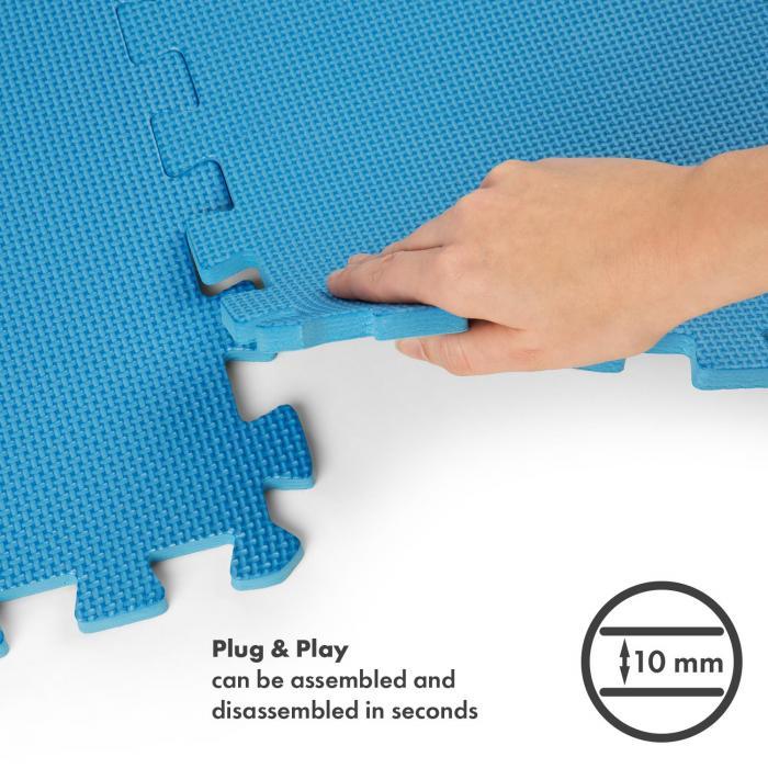 Puzzta lattian suojamatto 6 kpl EVA-vaahto 12 reunapalaa MemorySafe sininen