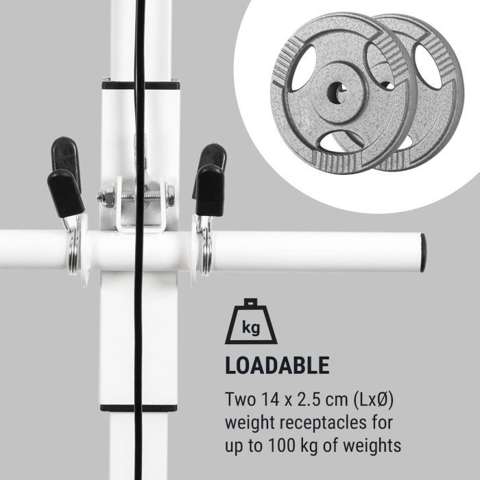 Stronghold Latzug Wandinstallation 100kg 2,5m Kabel Trizepsstange weiß