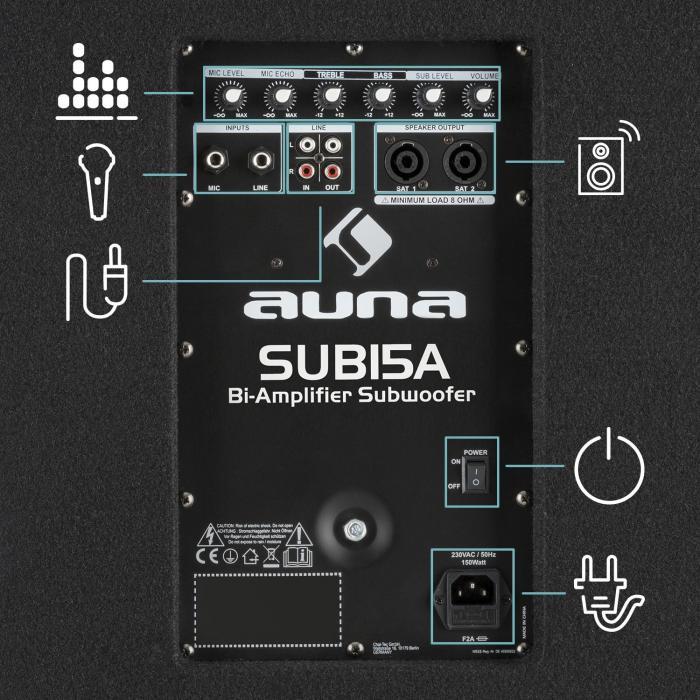 "Sub 15A Active PA Subwoofer, 600 Watt, 15"" (38 cm)"