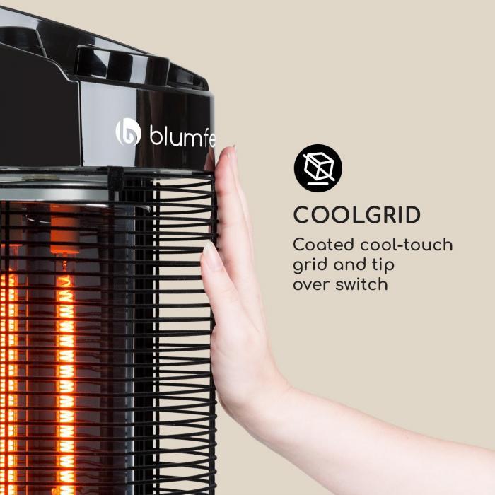 Heat Guru 360 Stand Radiant Heater 1200 / 600W 2 Heat Settings IPX4 Black