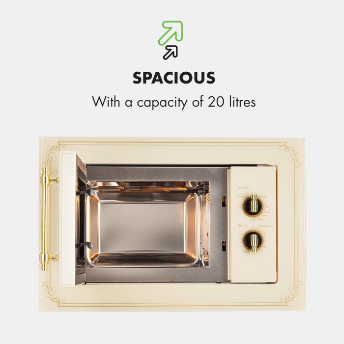 Victoria 20 Einbau-Mikrowelle, 20 l, 800 W, Grill: 1000 W, elfenbein