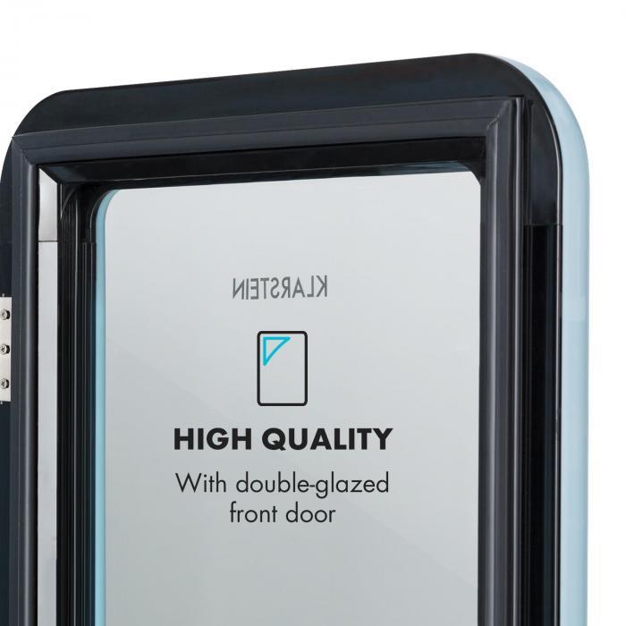 PopLife Réfrigérateur à boissons minibar 115 litres 0-10°C design rétro bleu