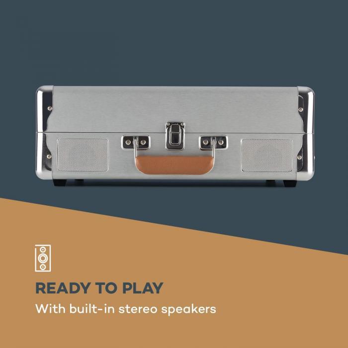 Billy Bob Plattenspieler mit BT Stereolautsprecher Bluetooth silber