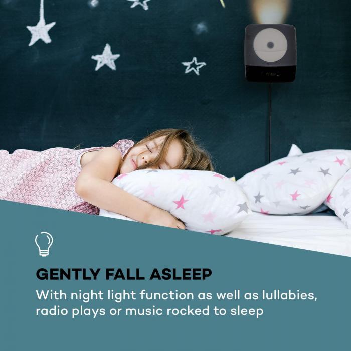 Vertiplay CD Player Bluetooth Night Light FM Radio AUX Digital Clock Black