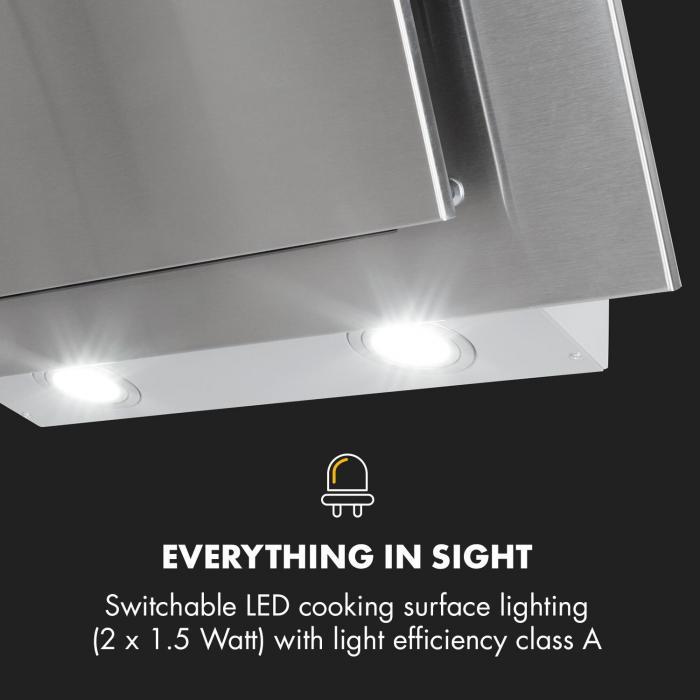 Athena Dunstabzugshaube 60cm Abluft: 350 m³/h LED Edelstahl
