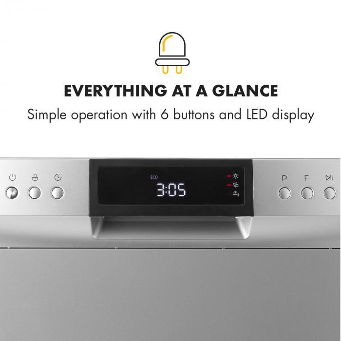 Amazonia 8 Neo Tableware Dishwasher 8 Programmes LED Display Silver