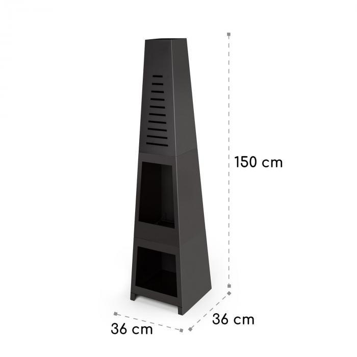 Monument Gartenkamin Stahl rostfrei Stauraum für Holzscheite schwarz