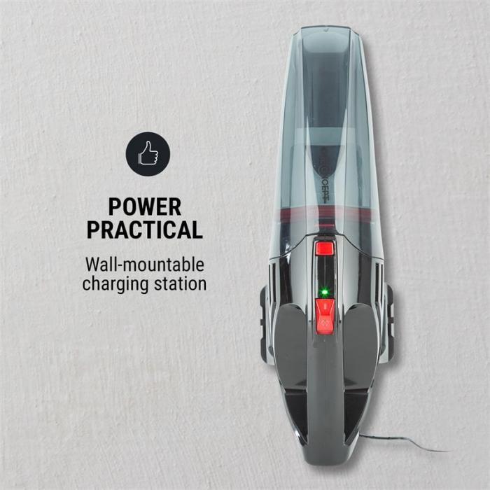Turbo Buddy Plus Aspiradora de mano con batería Estación de carga Accesorios Negro