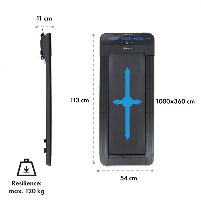 Workspace Go Light Bieżnia, 350 W, 0,8–6 km/h, 11 cm wysokości, kolor czarny