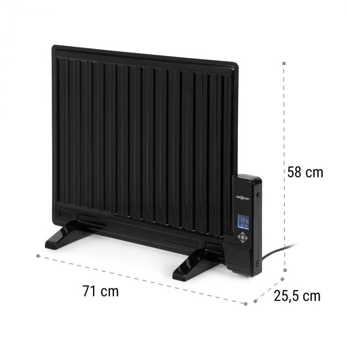 Wallander Oil Radiator 600W Thermostat Oil Heater Ultra Flat Black
