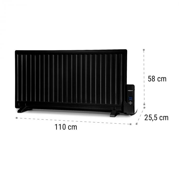 Wallander Oil Radiator 1000W Thermostat Oil Heater Ultra Flat Black