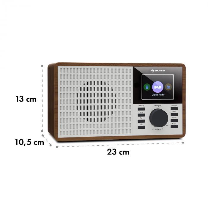 "DR-160 Radio Bluetooth DAB+/FM USB AUX Pantalla 2.4"" TFT Madera"
