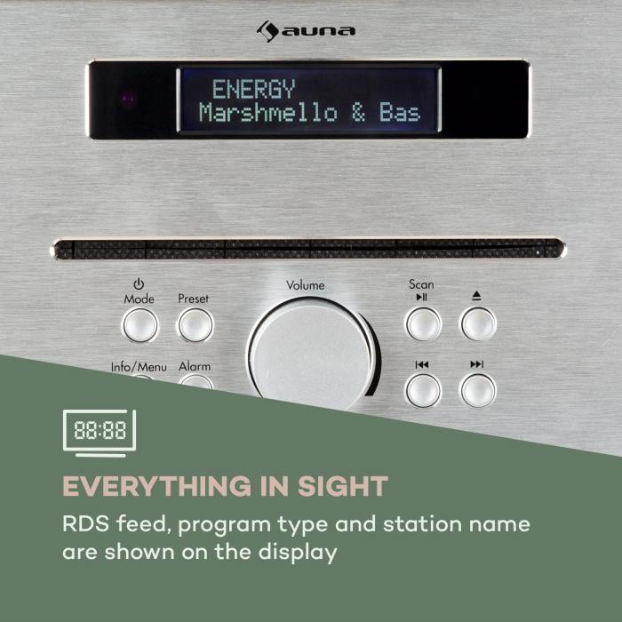 Silver Star CD-FM 2x20W máx. Leitor de CD Slot-In UKW BT Alu Castanho