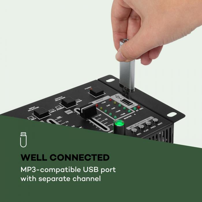 Amnesia Mixer a 4 Canali, BT, USB, MP3, 2 x Microfoni, nero
