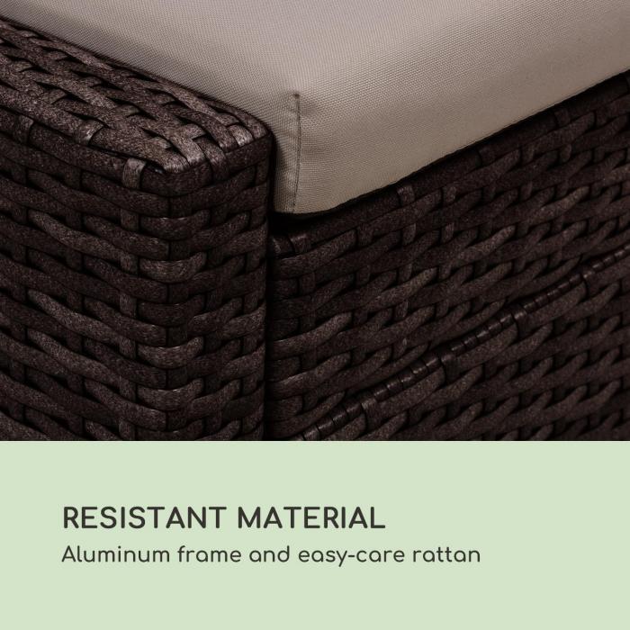 Eremitage Double Lounger -aurinkotuoli 2 henk. alumiini/rottinki ruskea