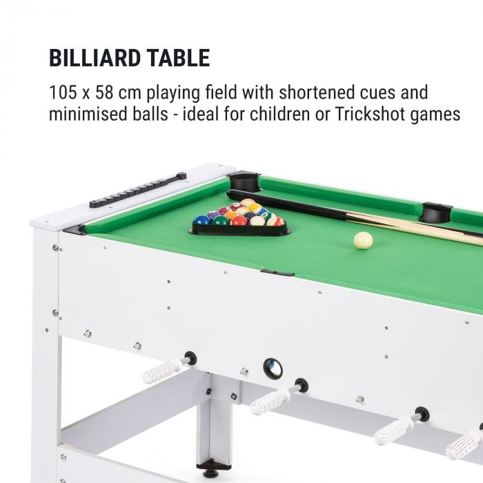 Spin 2-in-1 Play Table Billiard Kicker 180 ° Rotatable Game Accessories White