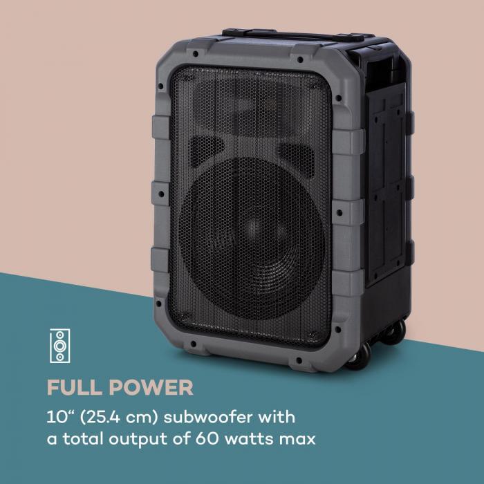spencer mobiler pa lautsprecher 60 watt wasserfest nach standard ipx4 10 tieft ner 2 5. Black Bedroom Furniture Sets. Home Design Ideas