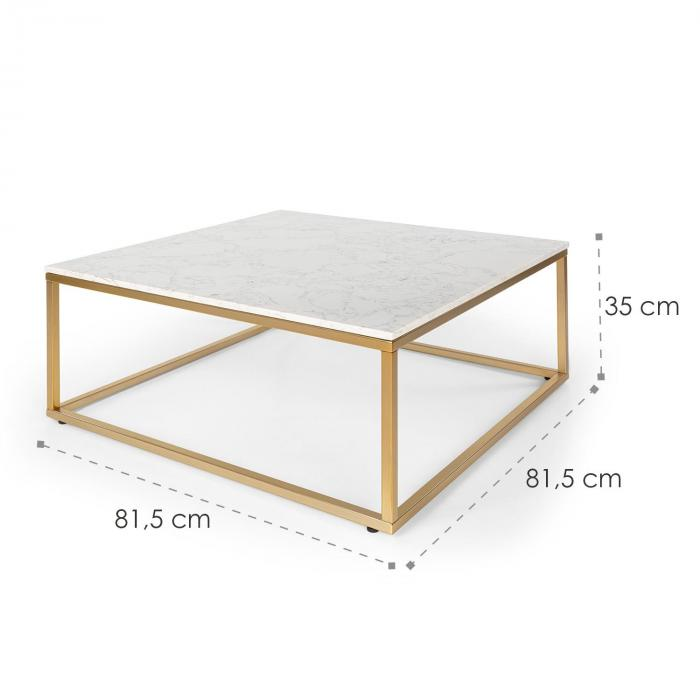 White Pearl II Tavolino 81,5x35x81,5cm (LxAxP) Marmo oro/bianco