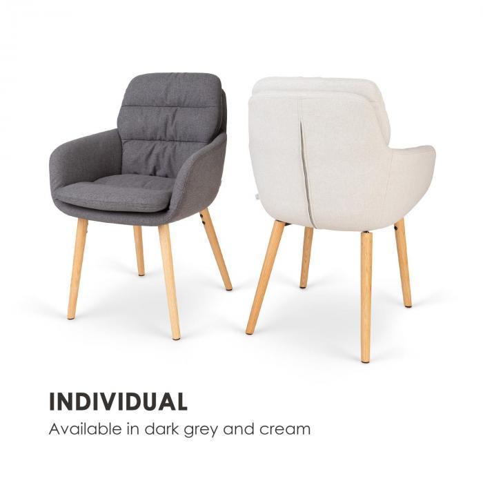 Doug sedia imbottita - imbottitura in poliuretano espanso - 100% poliestere - gambe di legno - crema