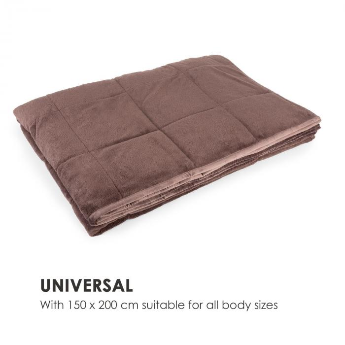 Cosycalm Weighted Blanket Microplush Synthetic Beads 150 x 200 cm 7 kg brown